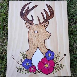 Deer and Floral Wreath wood burned wall sign